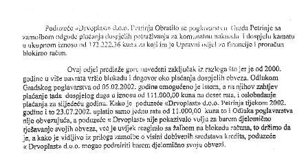 Drvoplast - Dio dopisa Grada Petrinje u kojem ističe blokadu