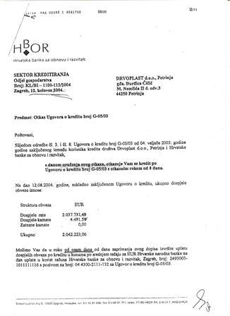Drvoplast - Dopis Hbora radi kreditirinja-otkaz ugovora