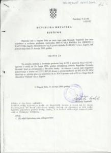 RJEŠENJE O UKNJIŽBI ZALOŽNOG PRAVA - PARKANT D.O.O. (krivotvoren