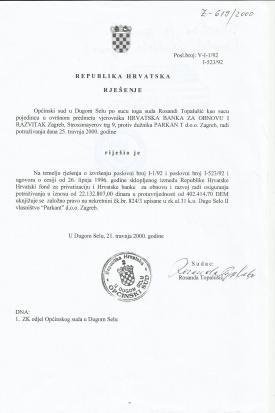 Preslika sudskog rješenja I-1/92 Općinskog suda u Dugom Selu iz sudskog spisa