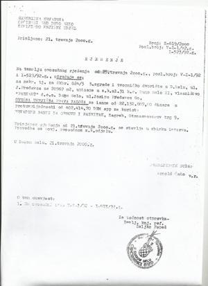 Općinski sud u Dugom Selu - sudsko rješenje od 21. travnja donešeno na temelju 25. travnja kojim se određuje upis založnog prava u korist HBOR-a