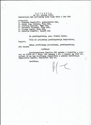 Sudski zapisnik iz 1992 godine kojim se tek Exportdrvo upisuje kao korisnik društvenog vlasništa na nekretnini koju je prije godinu dana prodao Parkantu