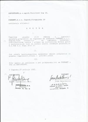 Parkant  - Exportdrvo - Ugovor o pravu građenja na društvenoj imovini, sklopljen godinu dana nakon navodne prodaje društvene imovine