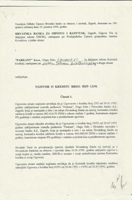 PARKANT - HBOR - ugovor kojim su reprogramirali dugove Parkant-a