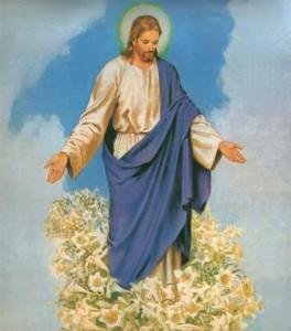 Isus - sa raširenim rukama u bijeloj haljini