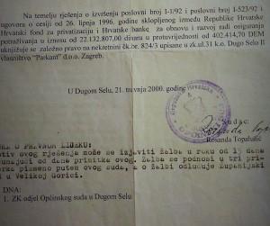 Nadopisano sudsko rješenje, bez dostavne naredbe, sa deformiranim podacima stranaka i datuma