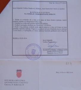 Rješenje o ovrsi - javni bilježnik Rijeka - nadležan Općinski sud u Čakovcu