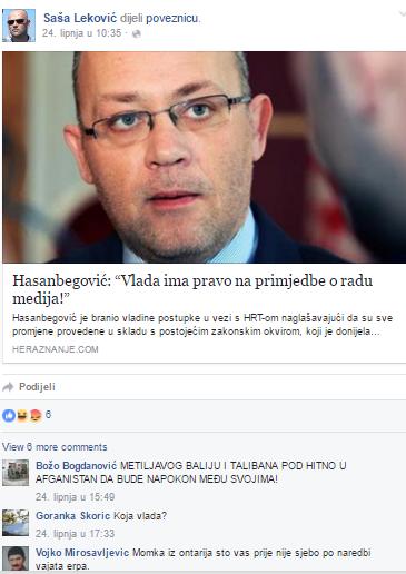 """Komentar na profilu Saše Lekovića """"METLJIVOG BALIJU I TALIBANA POD HITNO U AFGANISTAN DA BUDE NAPOKON MEĐU SVOJIMA"""""""