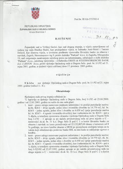 RJEŠENJE ŽUPANIJSKOG SUDA - UKIDA SE RJEŠENJE BROJ I-1-92