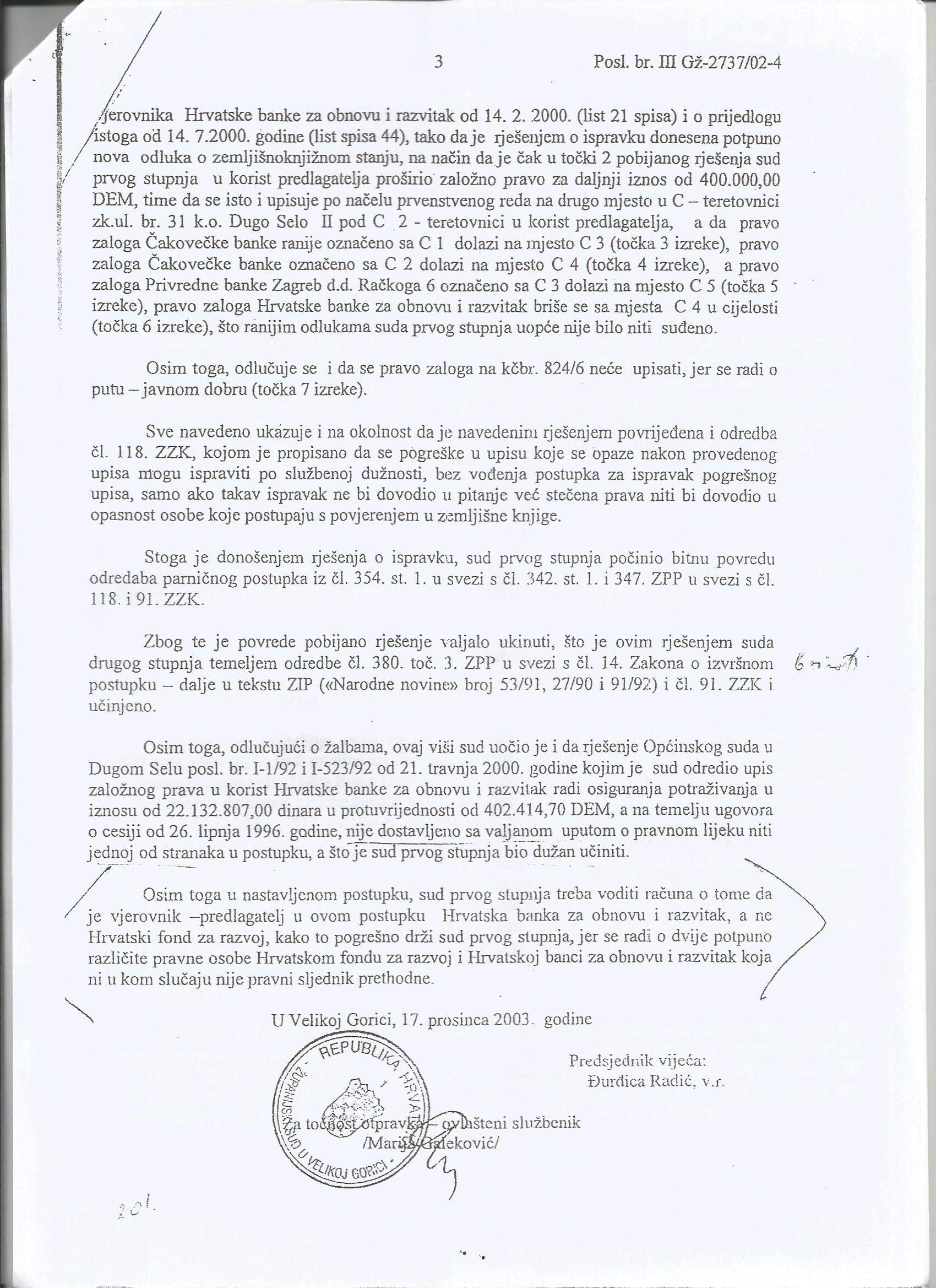 Rješenje Gž-2737-02 - Županijski sud u Velikoj Gorici ukinuo rj
