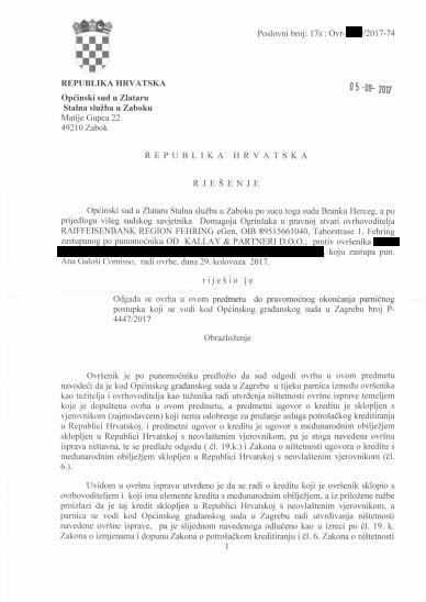 Ana Galoši Comisso - odgoda ovrhe po novom zakonu - anonimizirana