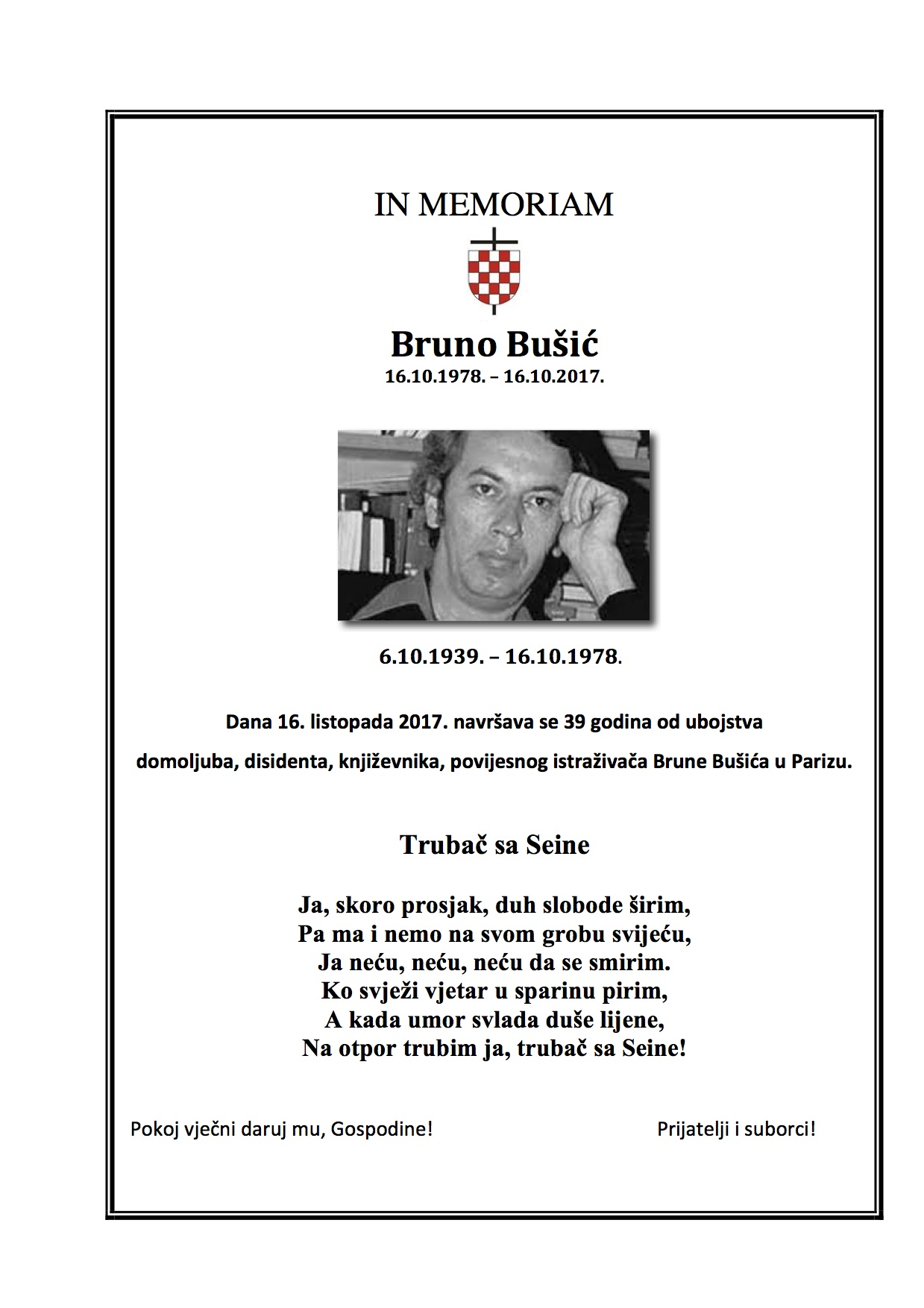 IN MEMORIAM Bruno Bušić - 2017