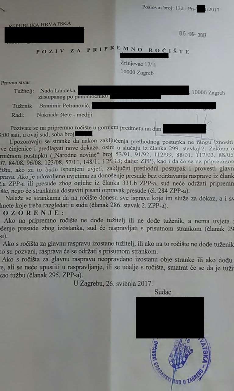 BRANIMIR PETRANOVIĆ - TUŽBA RADI NAKNADE ŠTETE RADI OBJAVE U MEDIJIMA - poziv