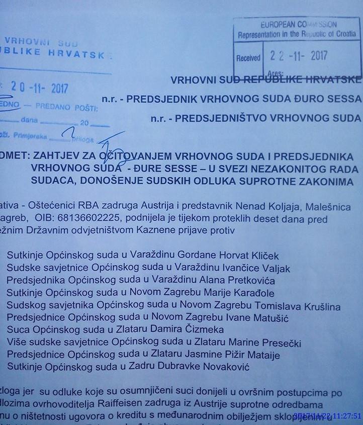 KAZNENA PRIJAVA PROTIV SUDACA - DOPIS UPUĆEN ĐURI SESSI