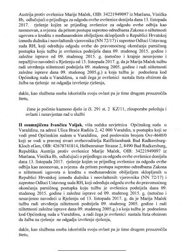 KAZNENA PRIJAVA PROTIV SUTKINJE HORVAT-KLIČEK IZ OPĆINSKOG SUDA U VARAŽDINU.STR. 2