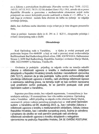 KAZNENA PRIJAVA PROTIV SUTKINJE HORVAT-KLIČEK IZ OPĆINSKOG SUDA U VARAŽDINU.STR. 4.