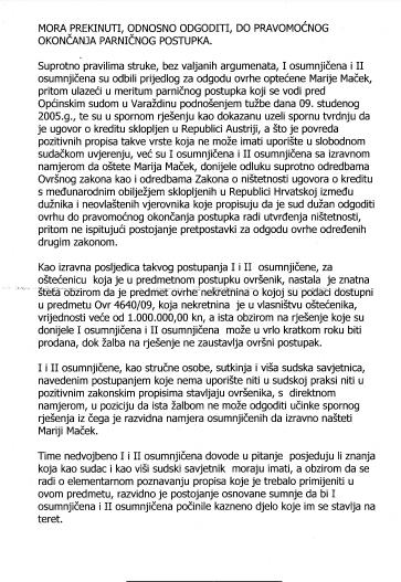 KAZNENA PRIJAVA PROTIV SUTKINJE HORVAT-KLIČEK IZ OPĆINSKOG SUDA U VARAŽDINU.STR. 5.