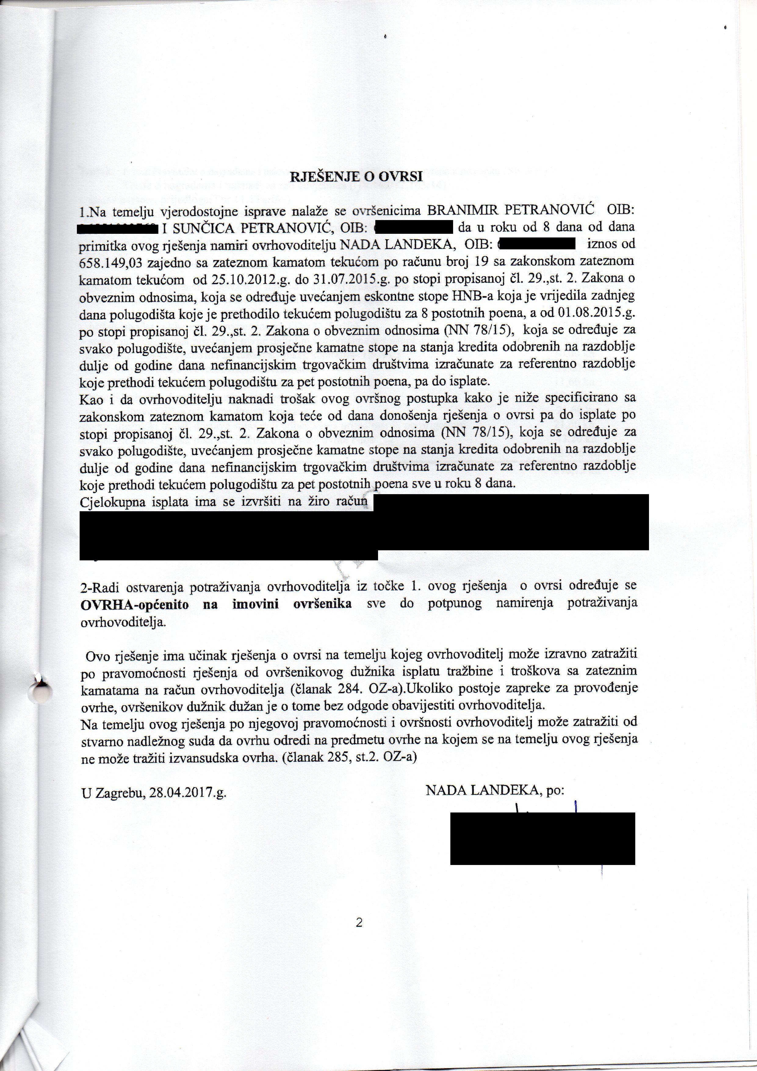 PETRANOVIĆ BRANIMIR I SUNČICA - RJEŠENJE O OVRSI STRANA DRUGA - 1
